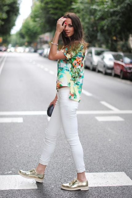 With floral shirt and white jeans