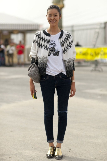 With funny t-shirt, printed jacket and jeans