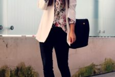 With gentle blouse, white long jacket and pumps