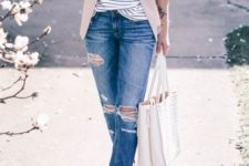 With gentle pink jacket and cuffed jeans