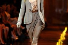 With gray jacket and pencil skirt