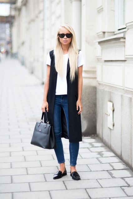 With jeans and black loafers
