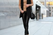 With leather pants and classic pumps