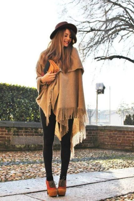 Wide ankle boots with light brown poncho, hat and clutch