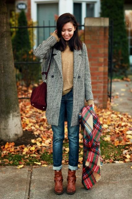 With light brown shirt, cuffed jeans, oversized plaid scarf and ankle boots fall outfit