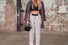 With long jacket, crop top and platform sandals