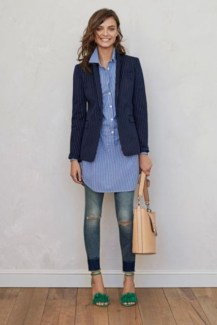 21 adorable ideas for girls to wear navy blue jackets for Blue dress shirt outfit