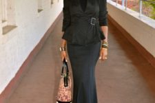 With maxi trumpet skirt and printed bag