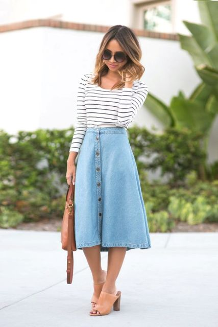 With midi denim skirt and mules
