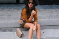 With mini printed skirt, shirt and wide brim hat