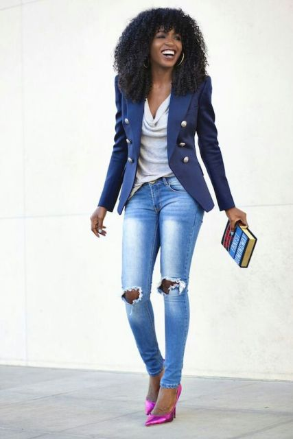 21 adorable ideas for girls to wear navy blue jackets