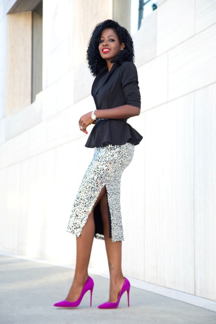 With pencil midi skirt and bright heels