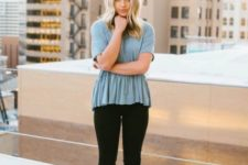 With peplum shirt and black skinnies