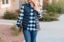 With plaid shirt, jeans and knee high boots