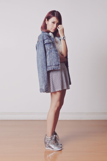 With printed skater skirt and denim jacket