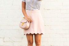 With scalloped skirt and neutral shoes