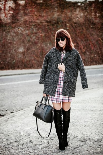 With short coat and knee-high boots
