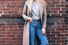 With simple gray shirt, jeans and flats