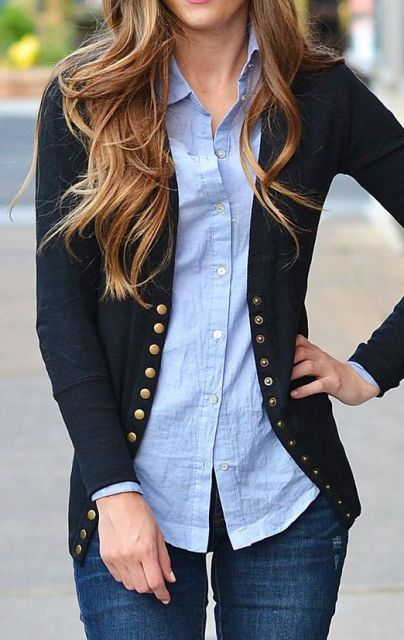 With simple light blue shirt and jeans