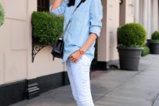 With skinny jeans and denim shirt