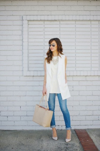 With sleeveless white shirt, cuffed jeans and neutral shoes (would work as work outfit nicely)