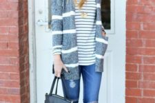 With striped jacket, distressed jeans and neutral shoes