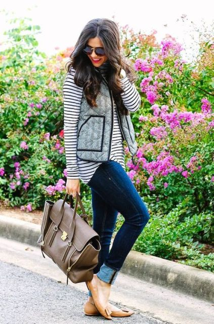 With striped shirt, cuffed jeans and neutral flats work outfit