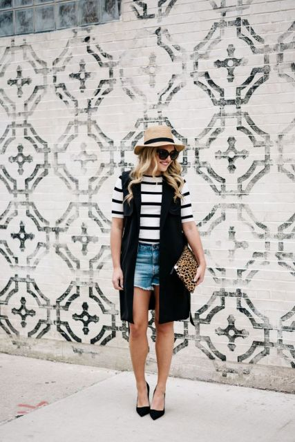 With striped shirt, deni shorts and straw hat