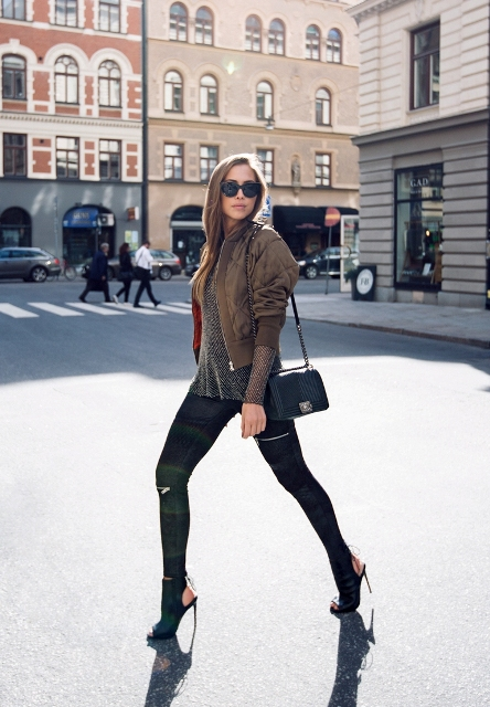 With stylish leggings and high heels