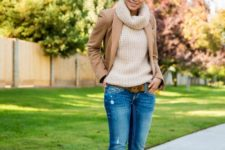 With sweater, camel jacket and cuffed jeans