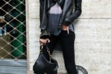 With two color shirt, pants and ankle boots