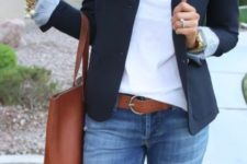 With white blouse, jeans and tote bag