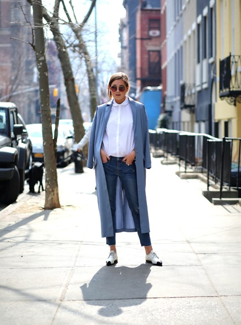 With white button down shirt, cropped jeans and flat shoes