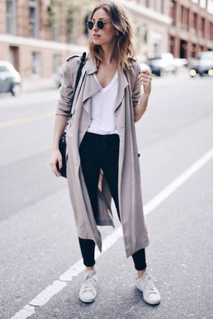 Fall outfit with white sneakers, jacket, white loose shirt, and dark color pants