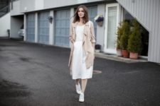 With white midi dress and white sneakers