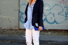 With white pants, button down shirt and jacket