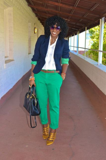 21 adorable ideas for girls to wear navy blue jackets for What color shirt goes with green pants