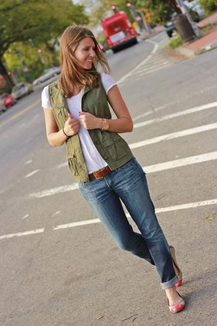 With white t shirt, cuffed jeans and eye catching flats