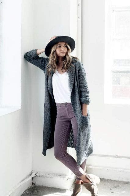 With white t-shirt, long cardigan, wide brim hat and ankle boots