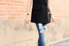 With white top, distressed skinny jeans and heels