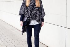 Wtih poncho, jeans and crossbody bag