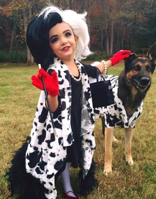 Cruella de Vil and her Terrified Dalmatian