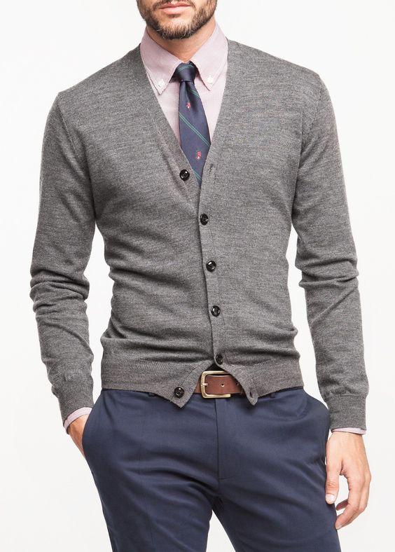 Men'S Grey Cardigan