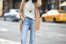 02 a camel cardigan, blue jeans and a striped tee