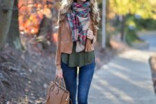 02 a plaid blanket scarf, army green, a light brown leather jacket