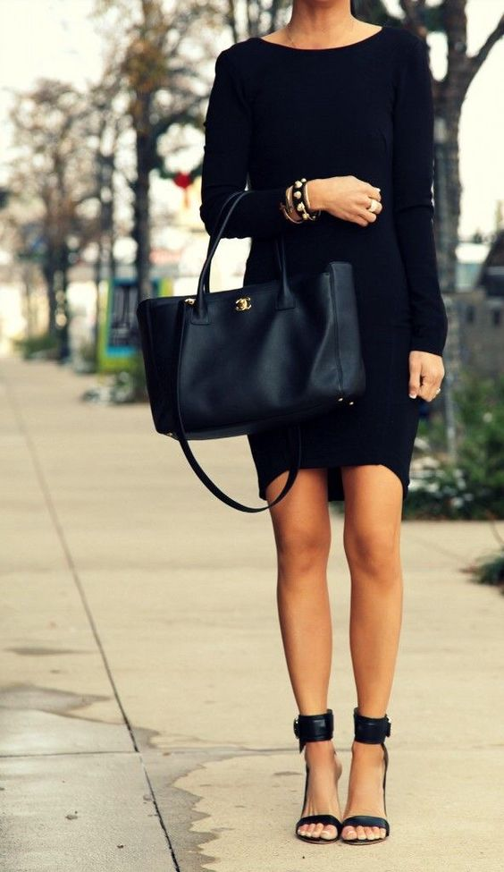 Picture Of All Black Fall Office Outfit