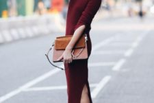 02 basic white sneakers, a burgundy sweater dress