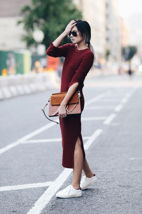 basic white sneakers, a burgundy sweater dress