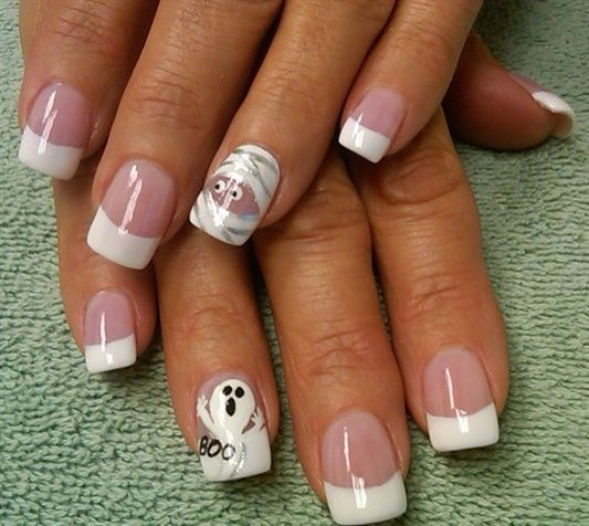 french manicure with mummy and ghost accents