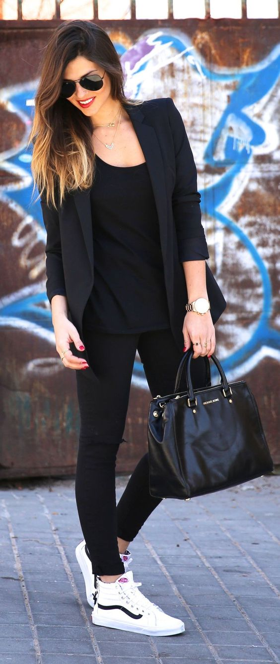 all black look with a jacket and leggings